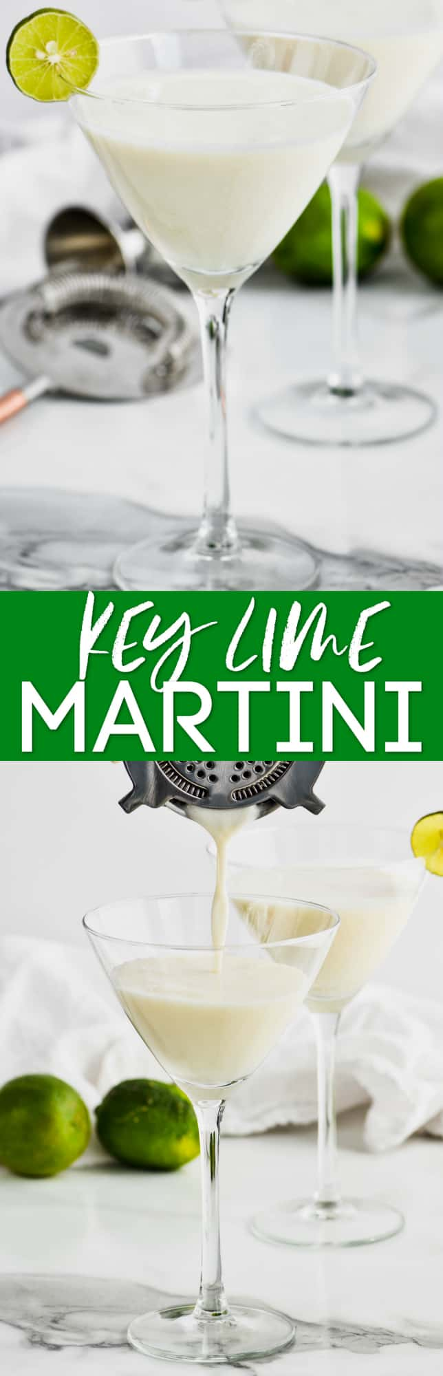 collage of photos of key lime martini recipe
