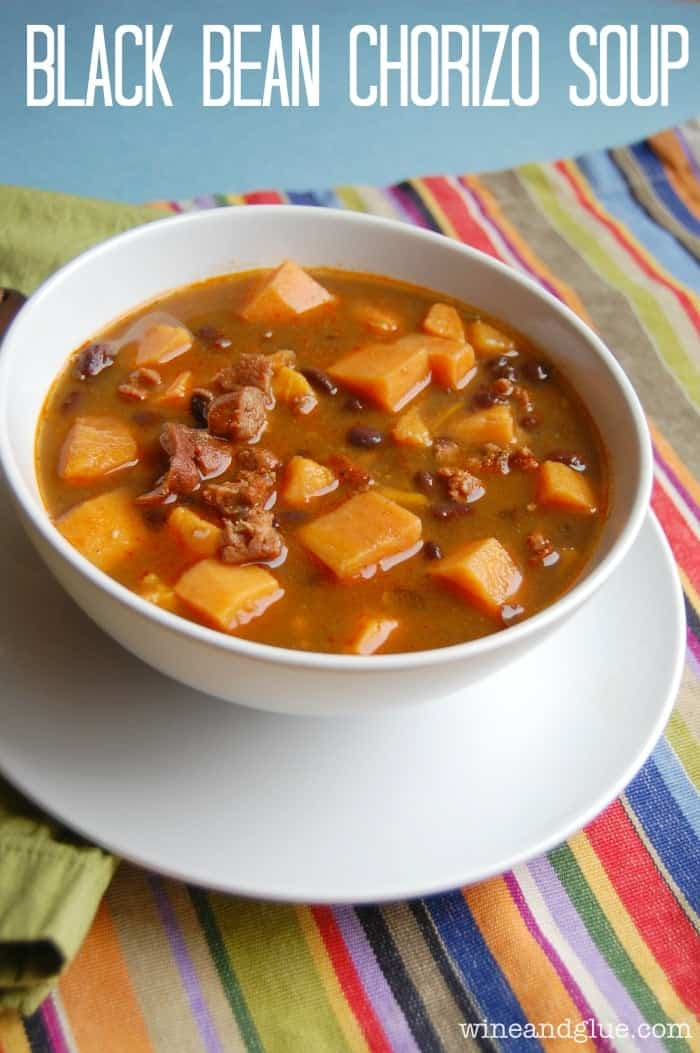 Black Bean Chorzio Soup via www.wineandglue.com