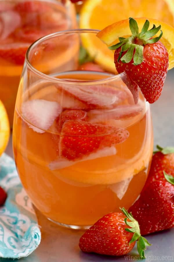 This Sunset Sangria Recipe is the perfect blend of citrus and strawberry!