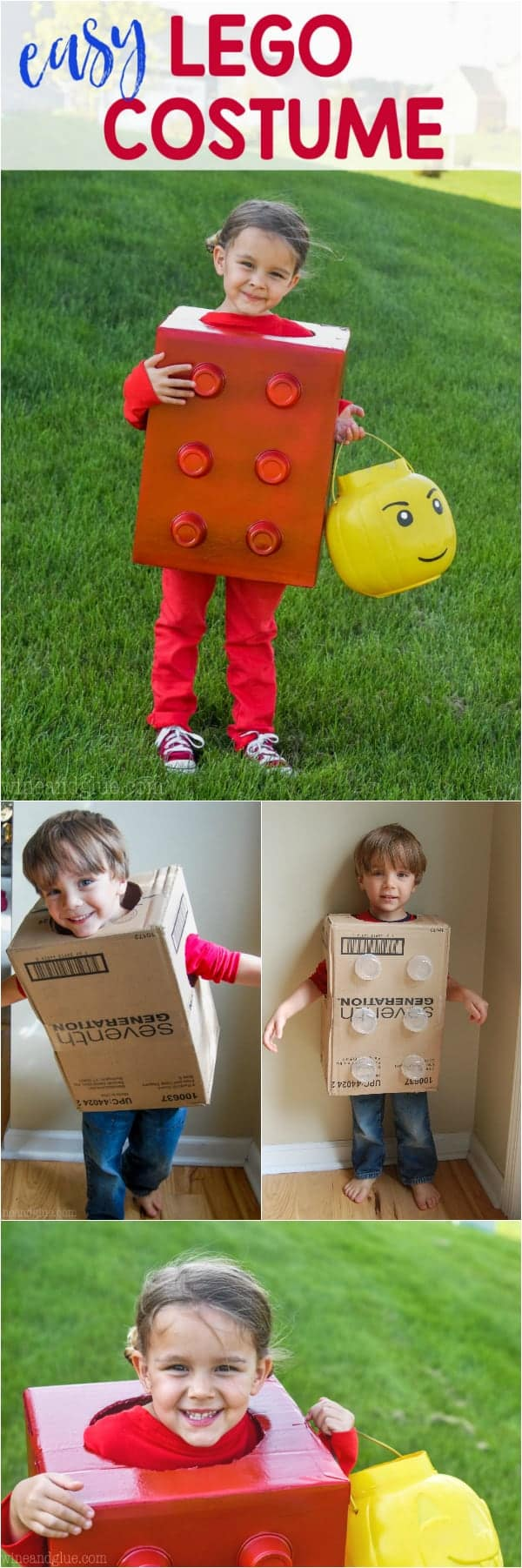 little girl wearing an easy halloween costume shaped as a lego