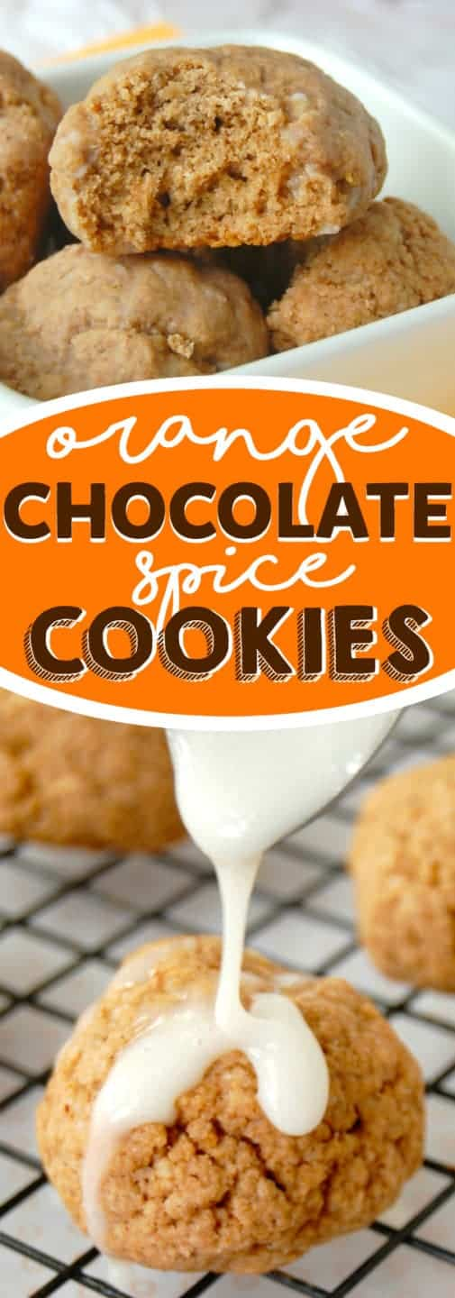 Orange Chocolate Spice Cookies. The sweet mixture of Orange and Chocolate with the added bonus of delicious spices, and smothered in a glaze.