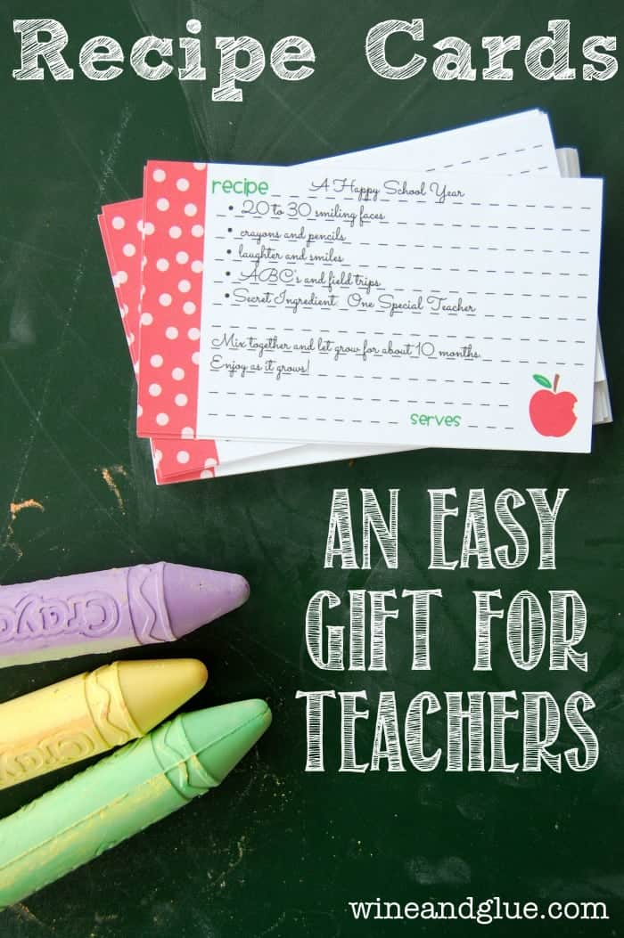 Recipe Cards for Teachers | A simple FREE printable that will show your child's teacher your appreciation for all they are setting out to teach your kiddo.