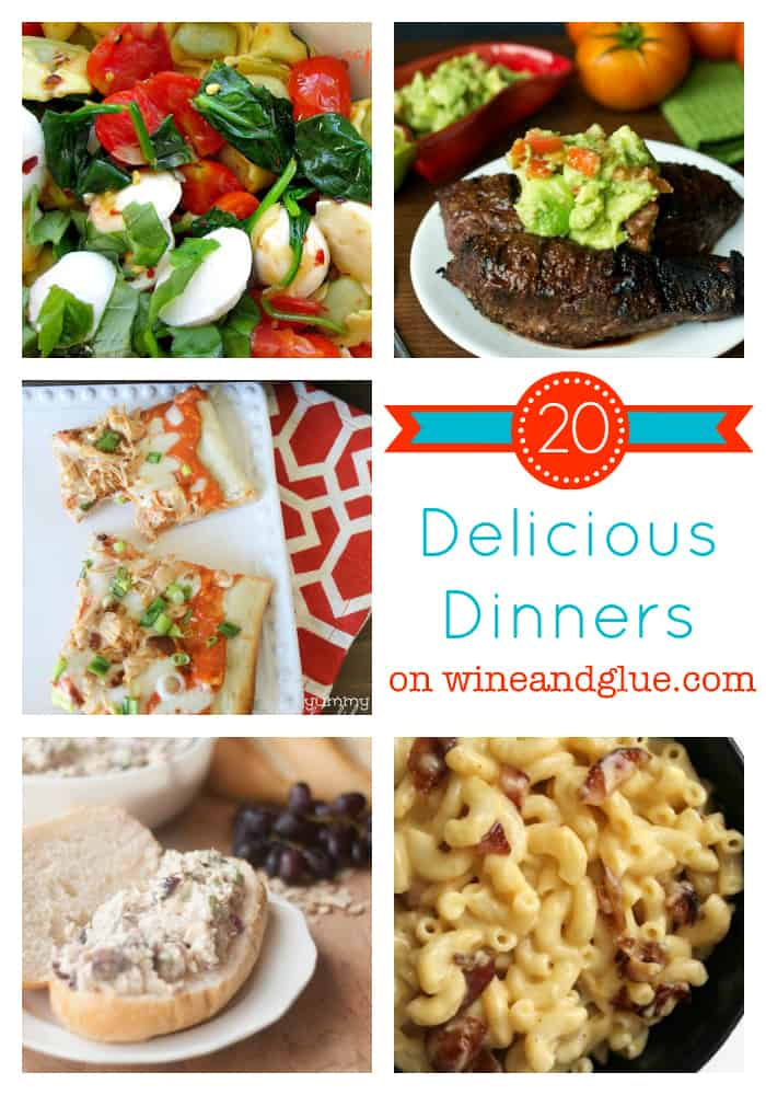 Twenty Delicious Dinners via www.wineandglue.com