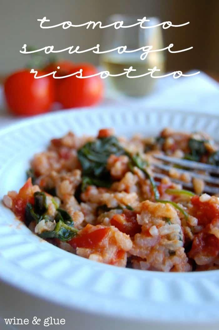 Tomato Sausage Risotto via www.wineandglue.com