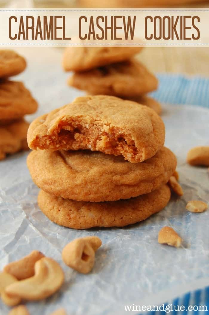 Caramel Cashew Cookies that are super simple to make, but so rich and delicious!  The perfect flavor combination! via www.wineandglue.com