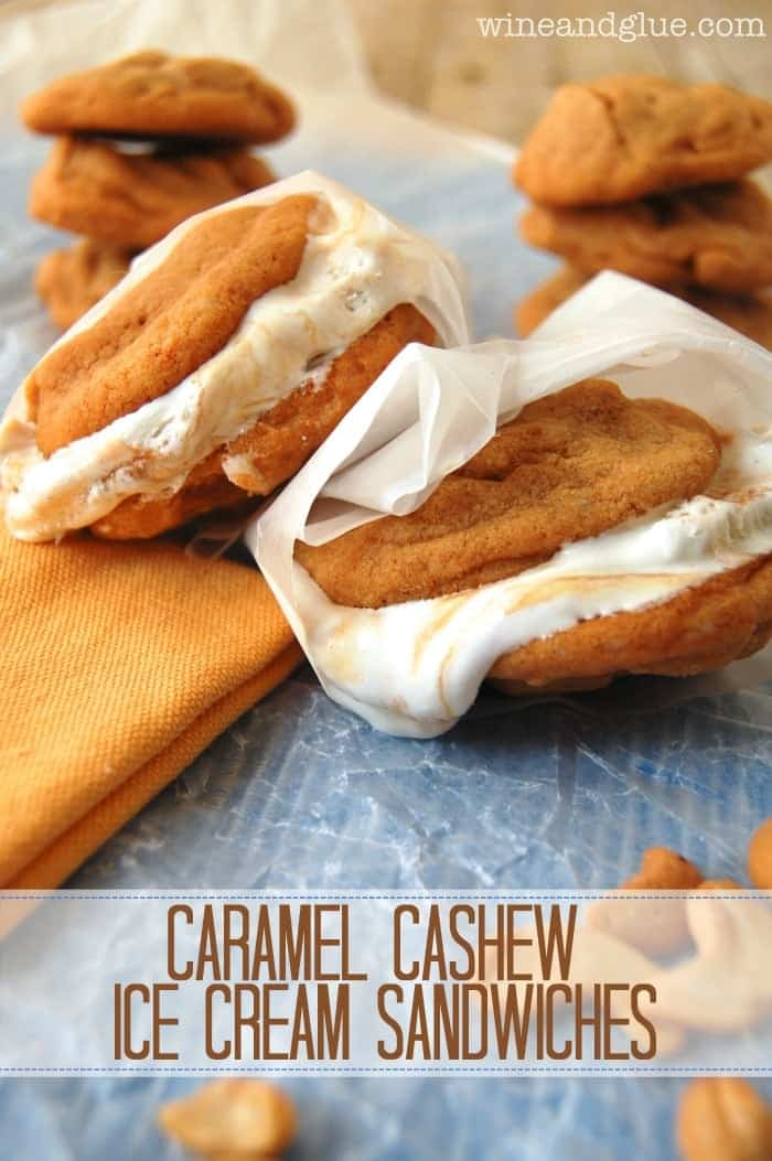 Caramel Cashew Ice Cream Sandwiches!  Delicious and rich Caramel Cashew Cookies sandwiching easy to make Caramel Swirl Ice Cream, a decadent dessert that is super easy to make!  via www.wineandglue.com