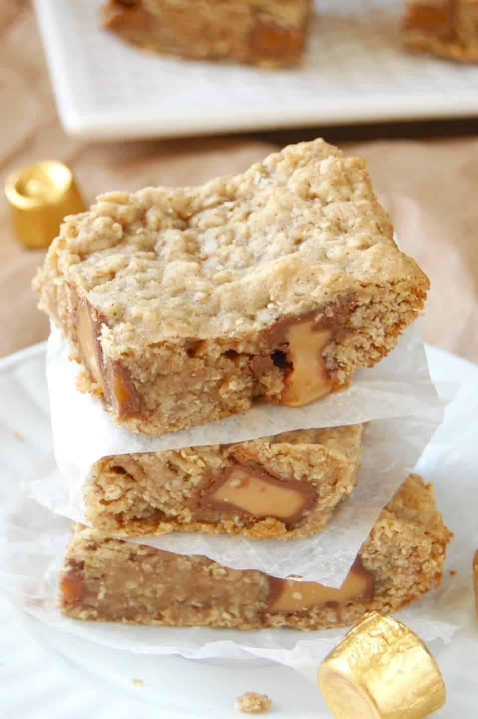 Oatmeal Rolo Bars! Soft, chewy, delicious, and easy to make!