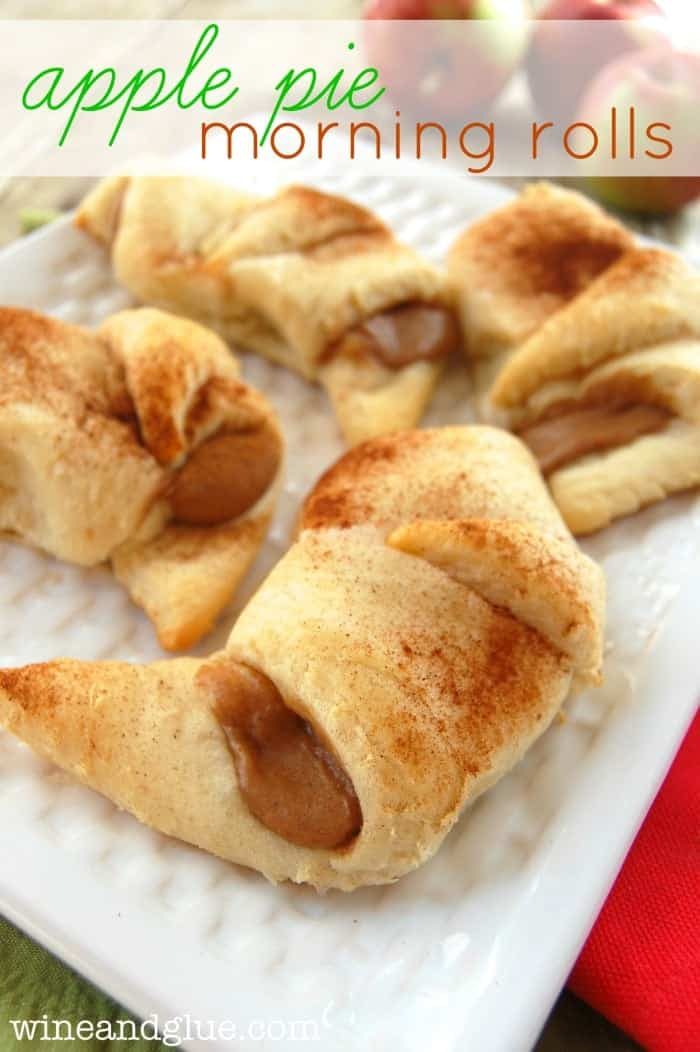 Apple Pie Morning Rolls!  The delicious flavor of apple pie all wrapped up in a warm pastry! via www.wineandglue.com