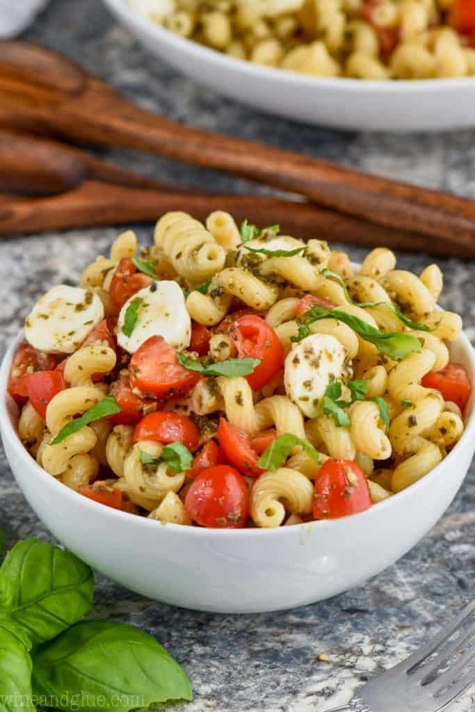 bowl of easy pesto pasta salad