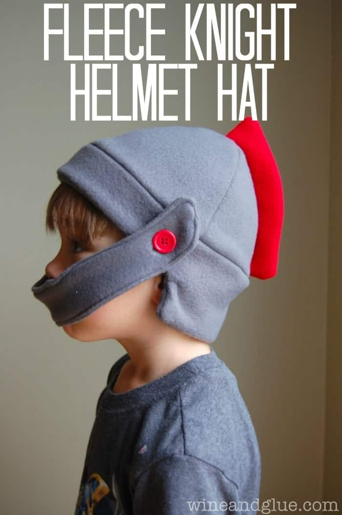 Fleece Knight Helmet Hat with tutorial and free pattern! via www.wineandglue.com