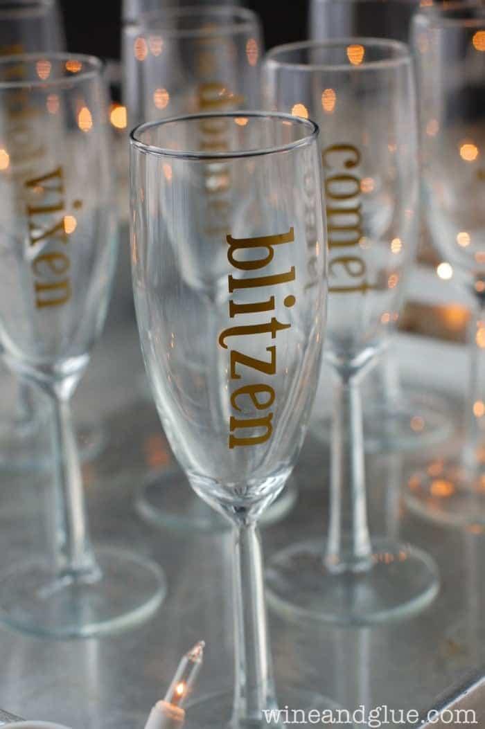 Gold Leaf Holiday Champagne Glasses | www.wineandglue.com