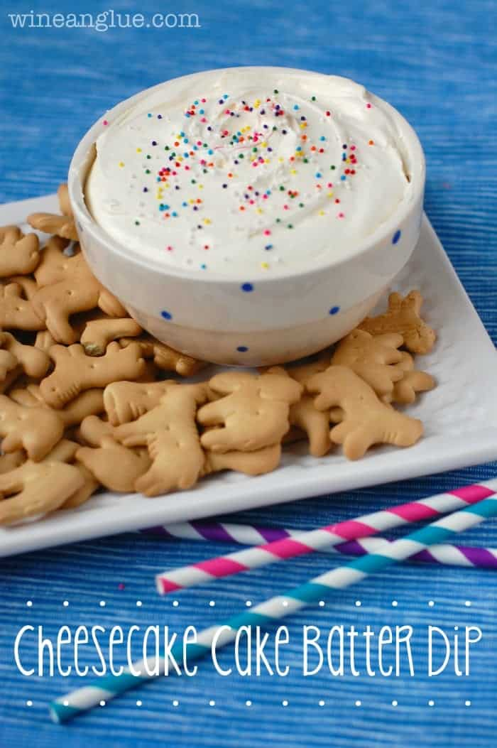 This Cheesecake Cake Batter Dip is a super easy dip that combines the awesome flavors of cheesecake and cake batter!