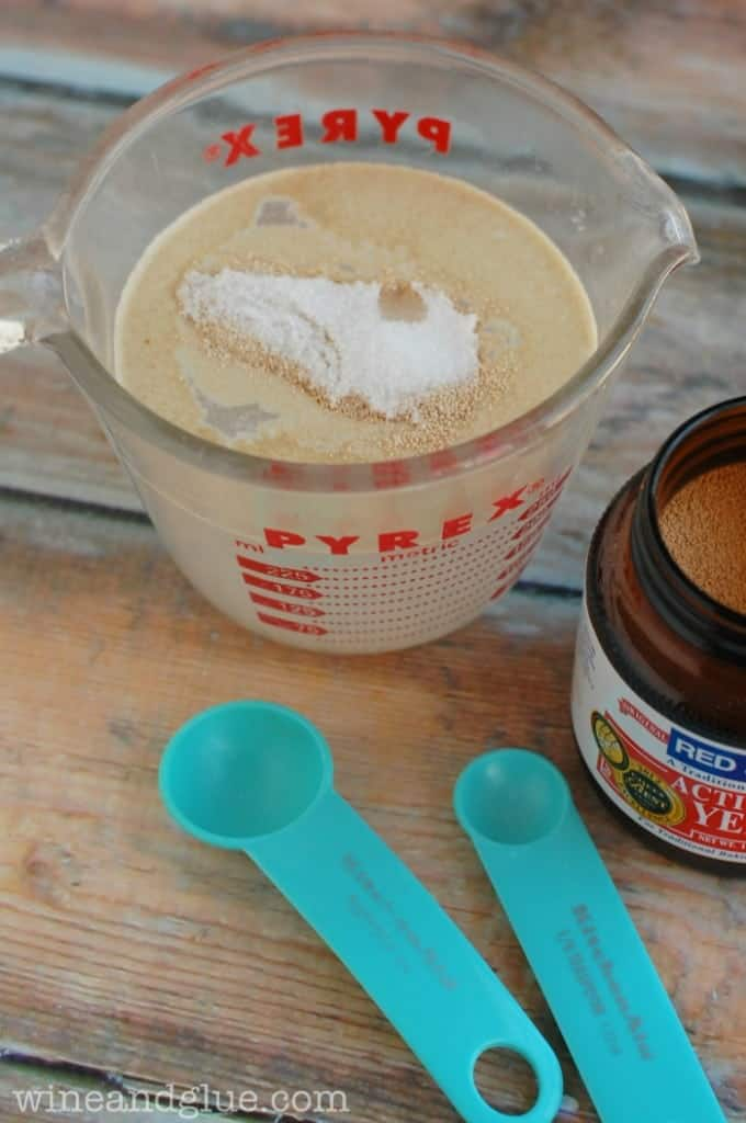 a small one cup measuring cup with water and yeast to start the best pizza dough