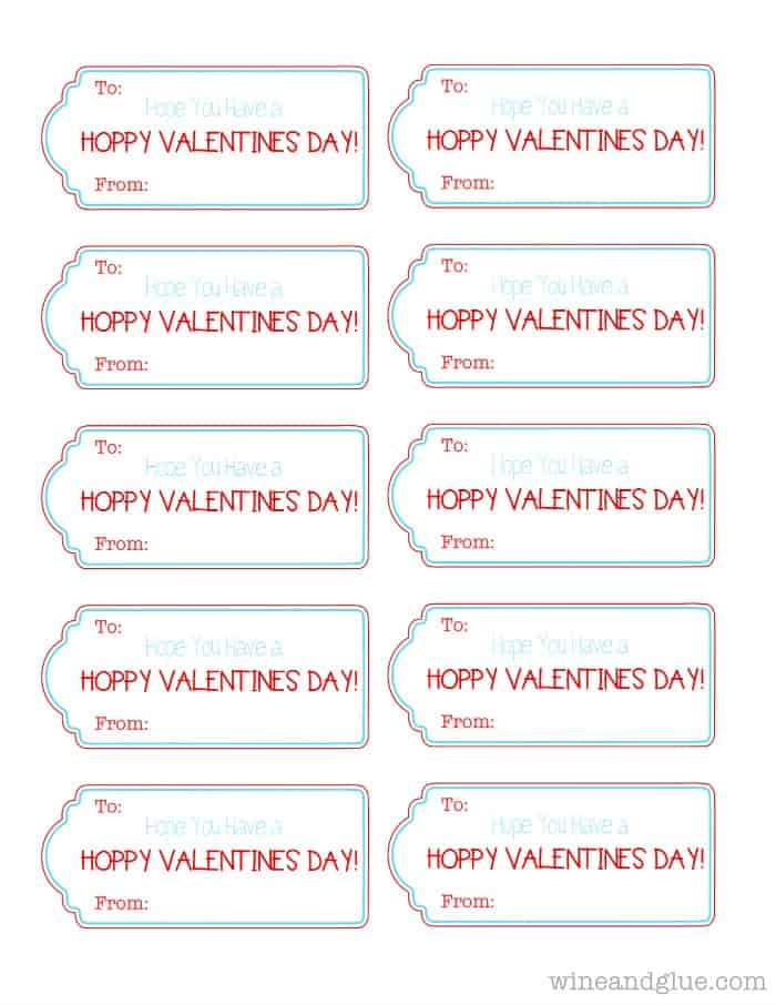 {FREE} Valentine Printable! | www.wineandglue.com | Have a Hoppy Valentine's Day Printable!