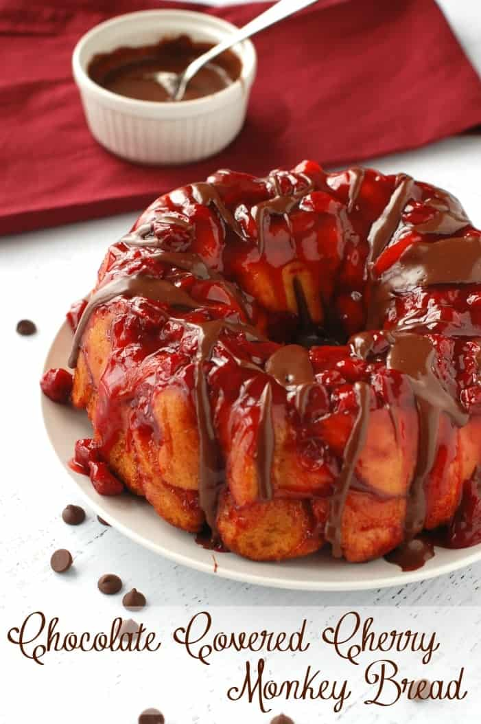 Chocolate Covered Cherry Monkey Bread | www.wineandglue.com | Monkey bread smothered with delicious cherry flavor and covered in chocolate sauce!