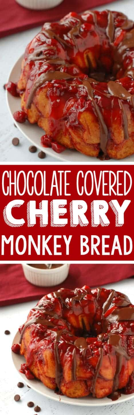 Chocolate Covered Cherry Monkey Bread | Monkey bread smothered with delicious cherry flavor and covered in chocolate sauce!