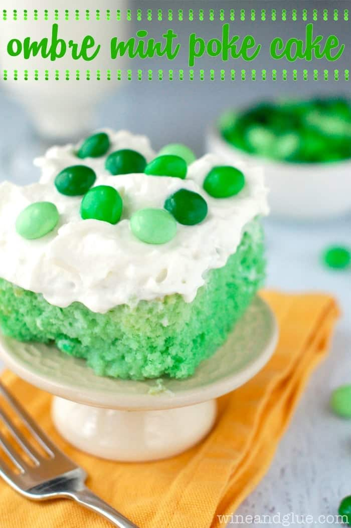 Ombre Mint Poke Cake | www.wineandglue.com |  Ombre green and flavored with delicious mint!