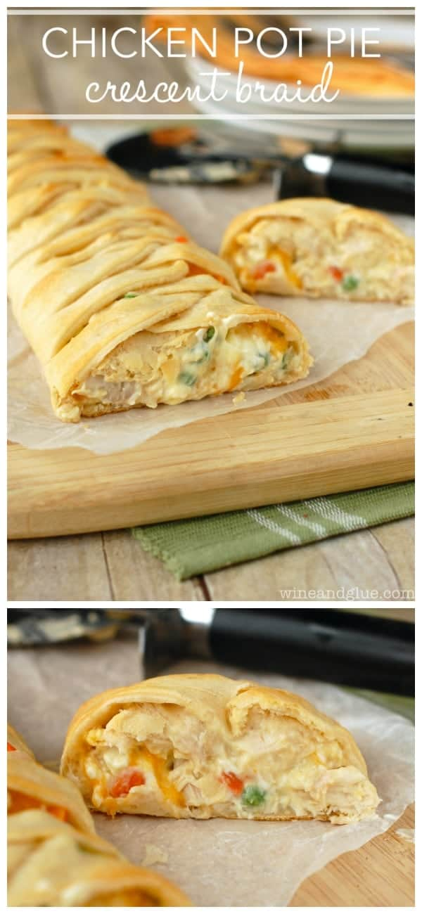This Chicken Pot Pie Crescent Braid is a super easy and delicious dinner all wrapped up in a gorgeous crescent braid!