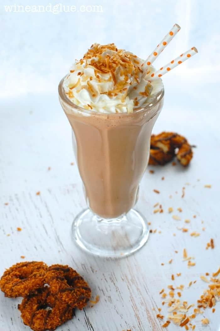 Samoa Milkshake | www.wineandglue.com | A really easy milkshake inspired by a Girl Scout Cookie favorite!