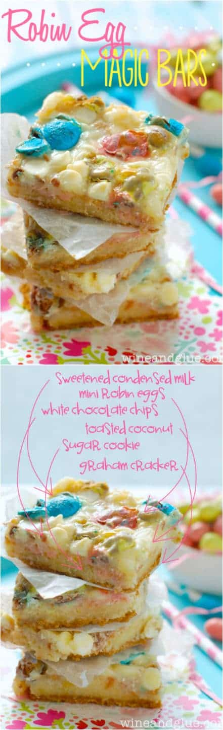 Robin Egg Magic Bars   www.wineandglue.com   With the graham cracker crust and the sugar cookie middle you won't be able to eat just one!