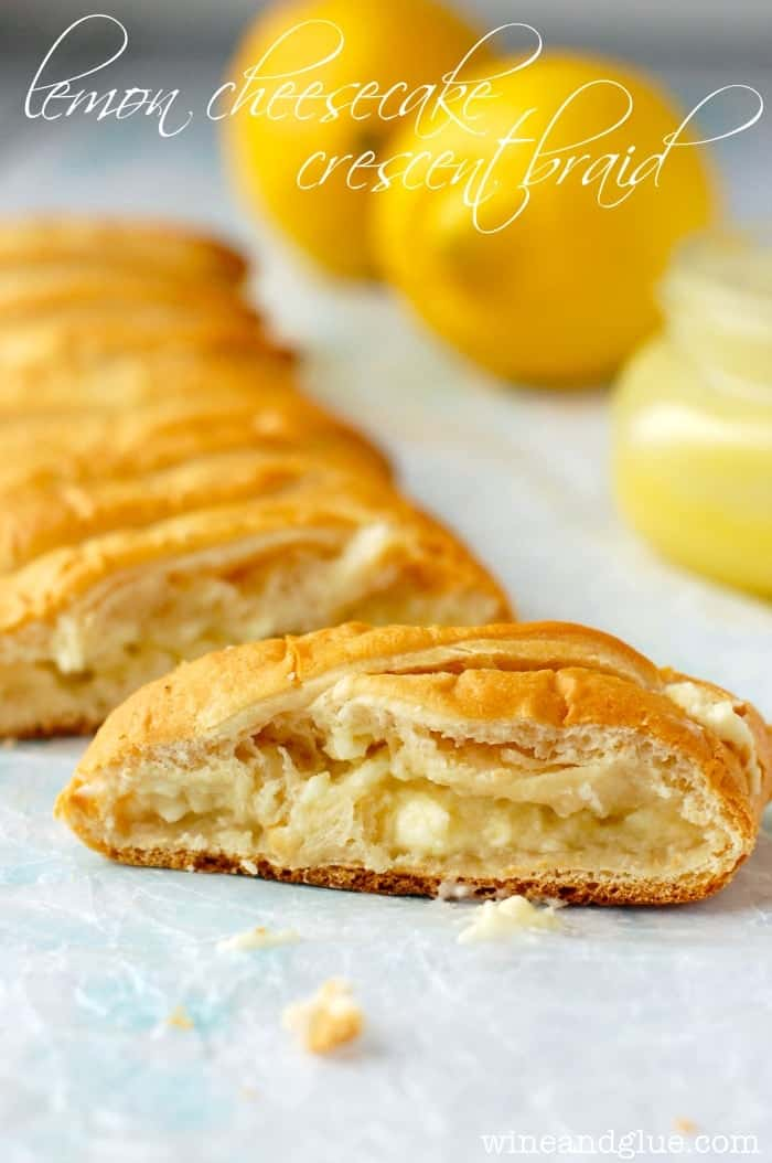This Lemon Cheesecake Crescent Braid delicious, beautiful, and only THREE ingredients!!