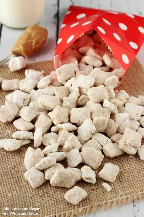 red bag of fulffernutter puppy chow spilling out