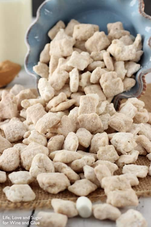 bowl of fluffernutter puppy chow spilling out