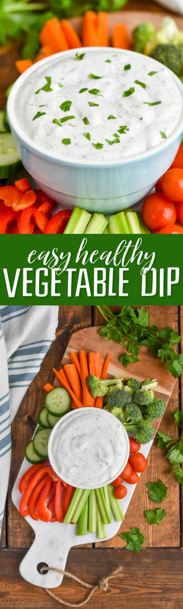 This Healthy Vegetable Dip Recipe is really easy, light on calories, and big on taste!  It is the perfect thing to make for a party because of how fast it comes together.  It only has four ingredients!