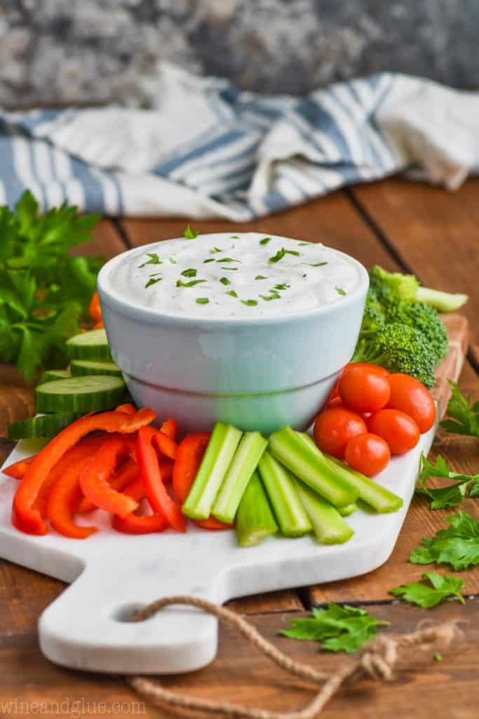 side view of vegetables and dip recipe