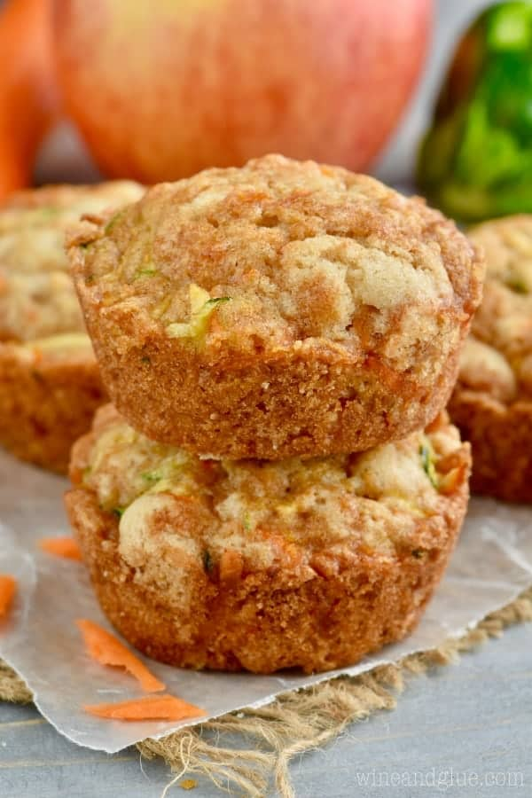 zucchini bread muffins stacked