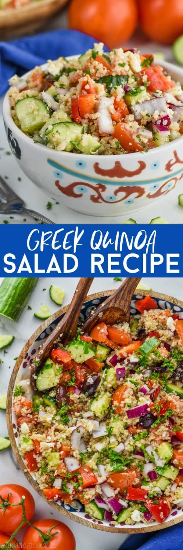 collage of greek quinoa salad recipe