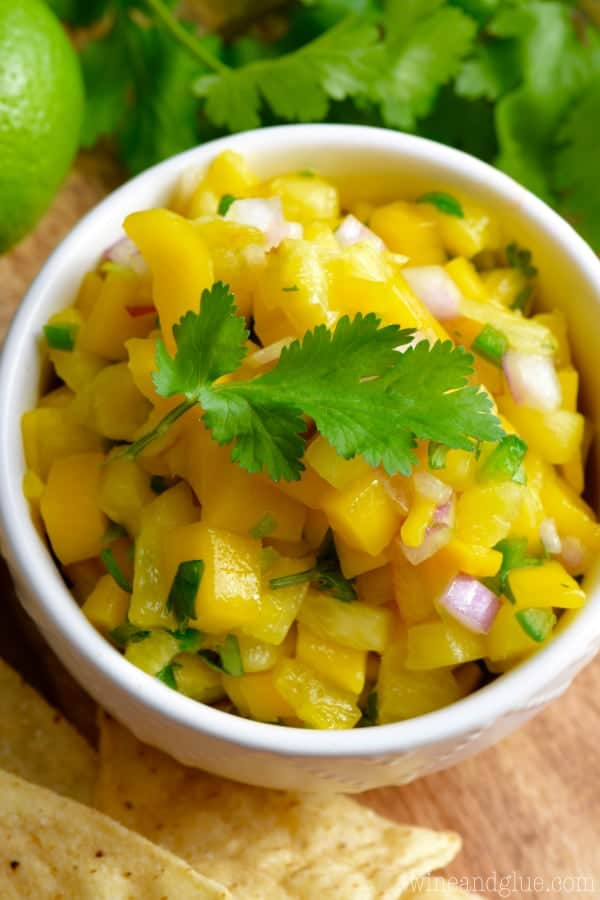 This Pineapple Mango Salsa is such a delicious combination of savory and sweet with a little kick too!