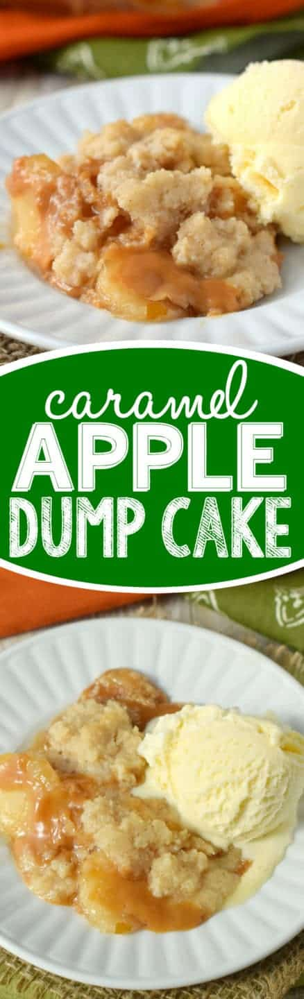 This Caramel Apple Dump Cake is ridiculously easy to make, but so delicious that it will become your new favorite fall dessert!