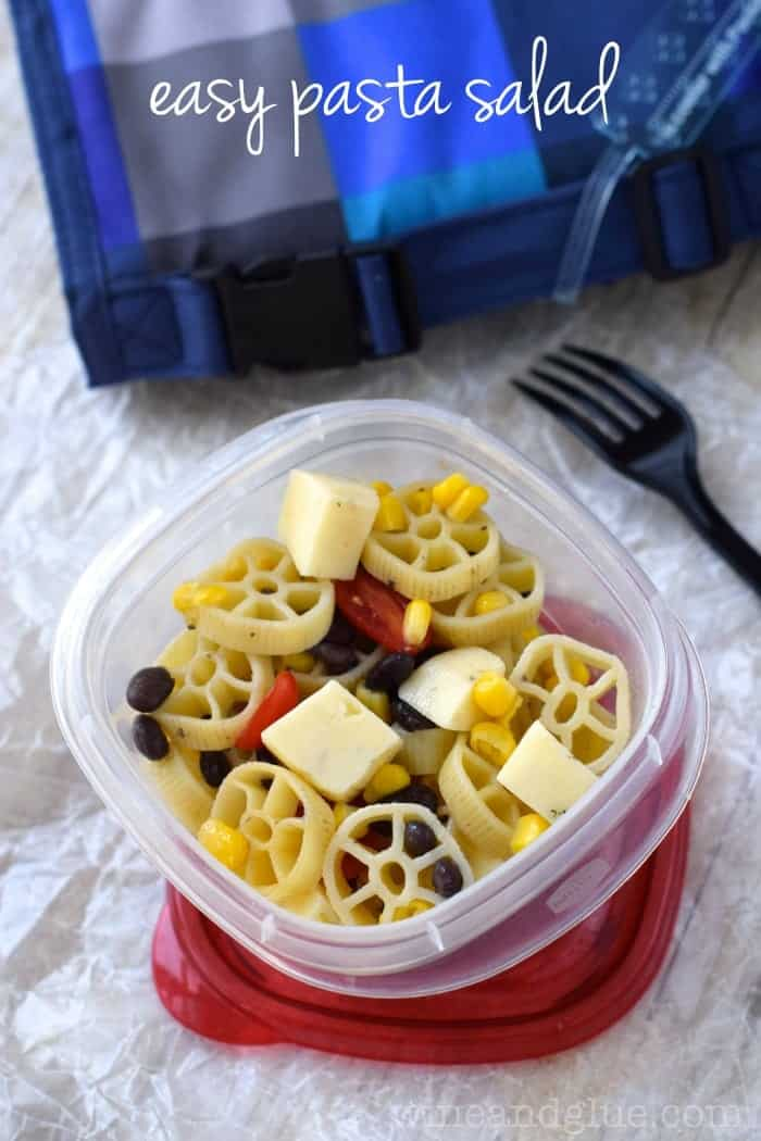 Easy Pasta Salad | Comes together in minutes and is a well balanced lunch for adults or kiddos!