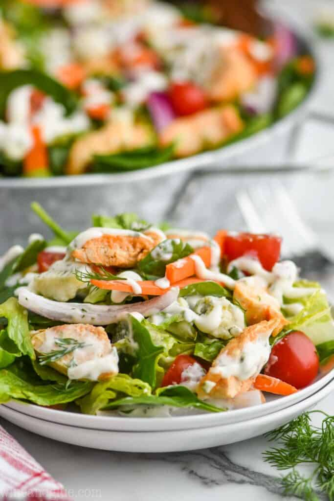 buffalo chicken salad recipe on two white plates that are stacked, dressed with homemade ranch dressing, the rest of the recipe in the background