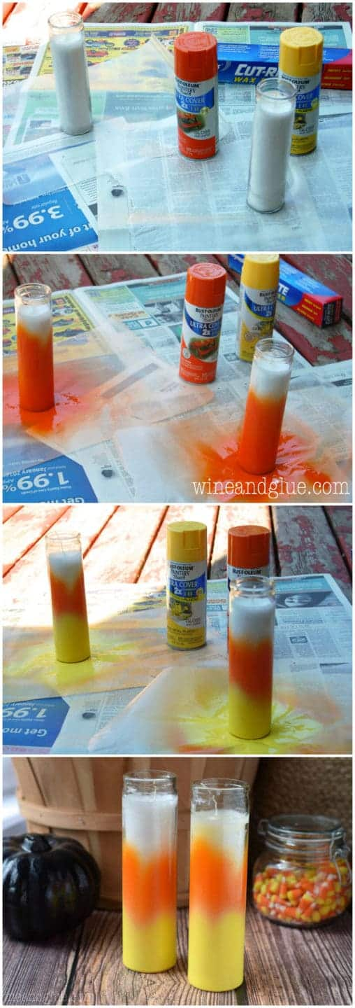 These Candy Corn Candles are about as easy as it gets when it comes to Halloween crafting!