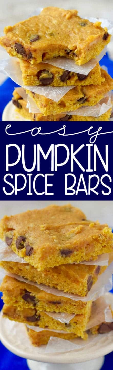 These Easy Pumpkin Spice Bars come together in under 20 minutes start to finish and are so soft and full of flavor!