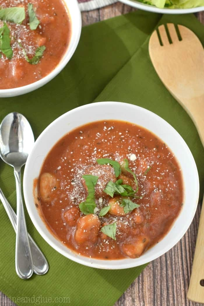 This Slow Cooker Meatball Gnocchi Soup is easy to throw together and so delicious and warm!