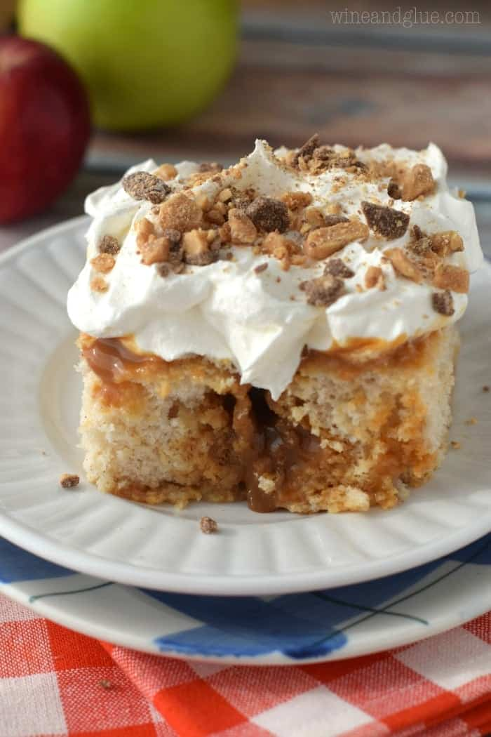 Caramel Apple Poke Cake that is easy to make, but super addictive! Try not to eat the whole pan.
