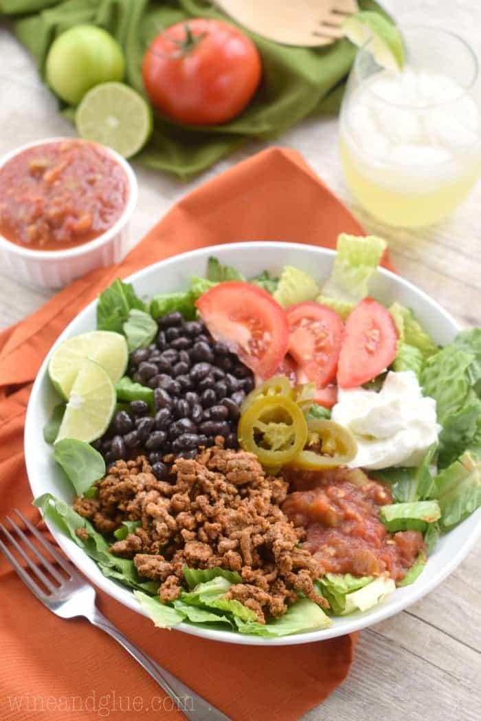 taco salad ingredients on table