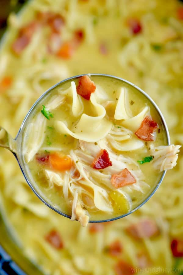 overhead view of a ladle full of chicken noodle soup being held over a slow cooker