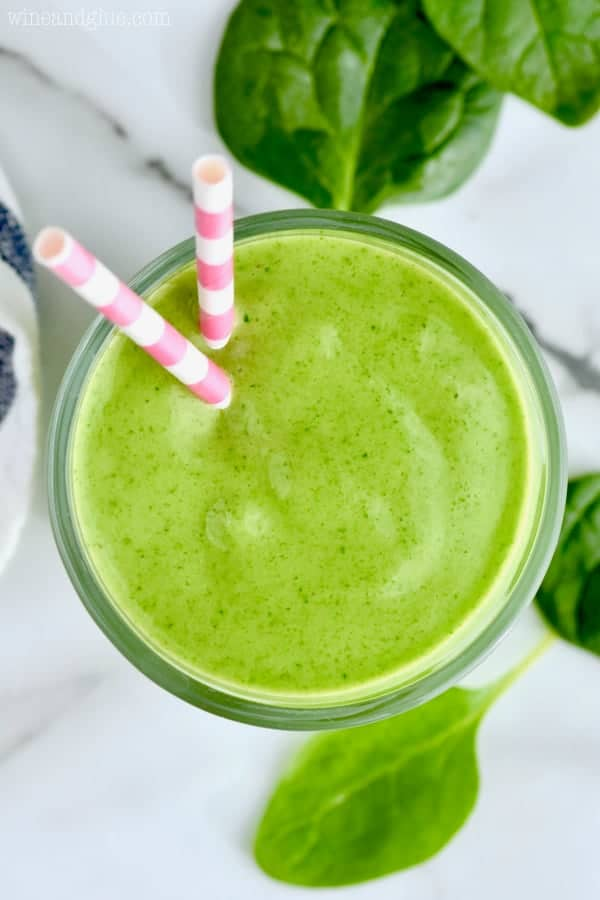 You will feel full and happy after drinking this three ingredient green smoothie!