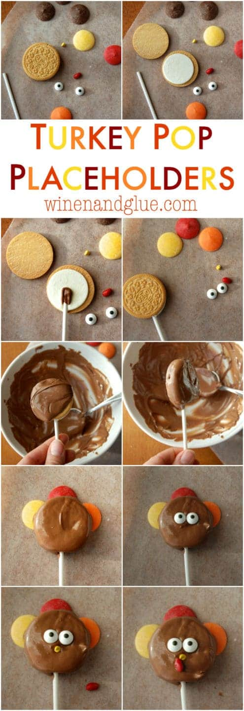 A photo tutorial to make adorable turkey pops that double as Thanksgiving placeholders