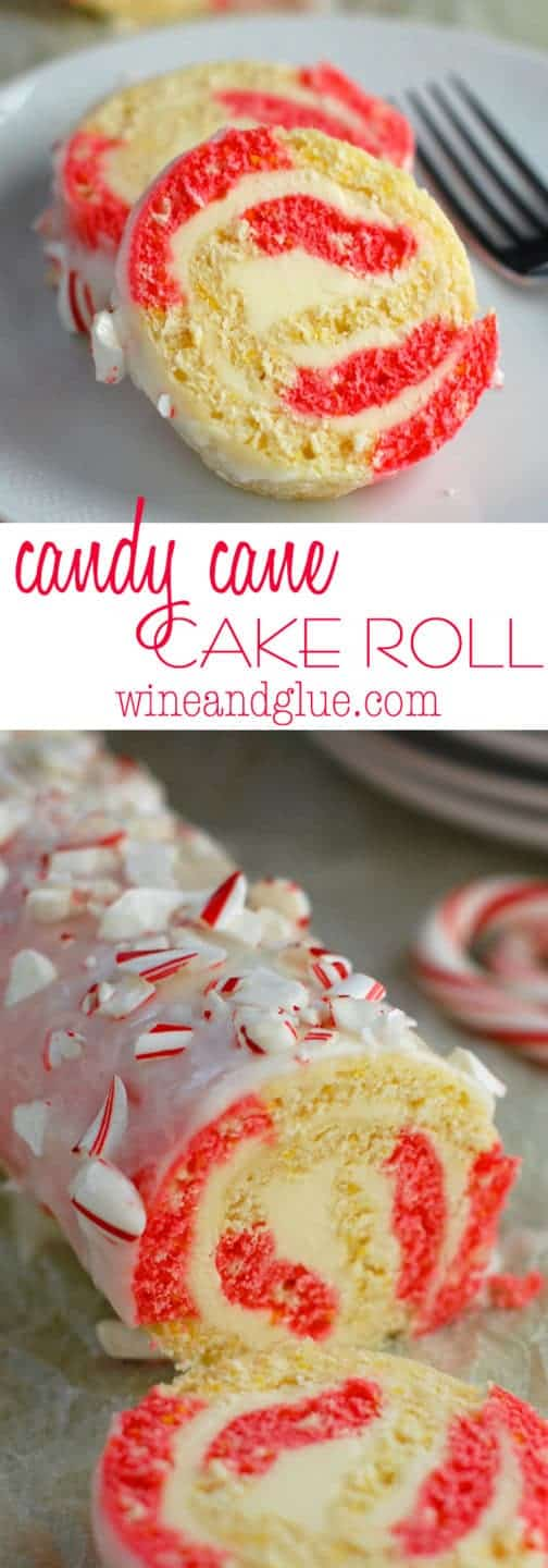Candy Cane Cake Roll coated with frosting and sprinkled with crushed up candy cane.