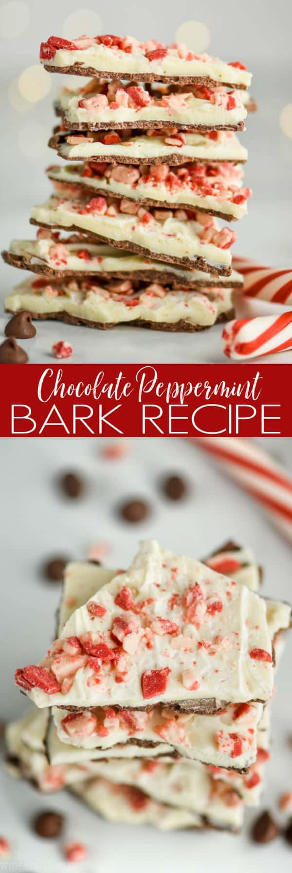 stack of chocolate peppermint bark
