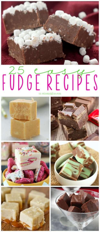 collage of photos of easy fudge recipes