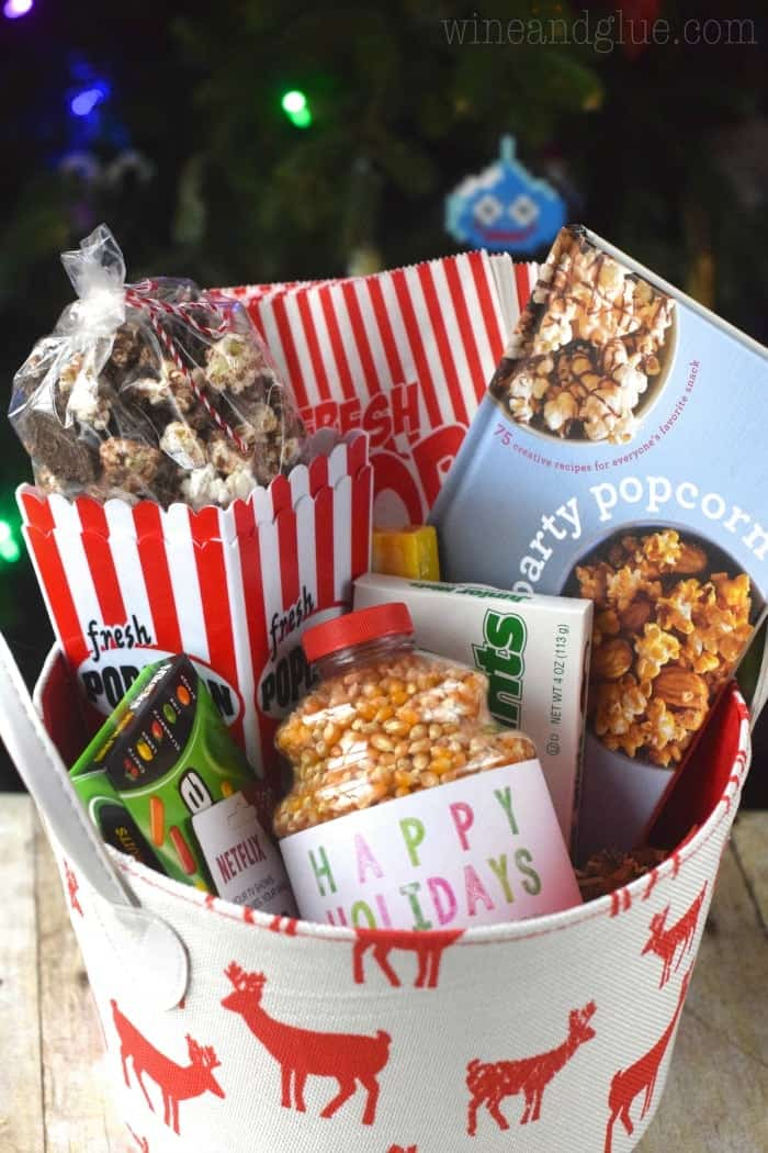 A popcorn themed gift basket complete with delicious Grasshopper Popcorn and a copy of Party Popcorn!