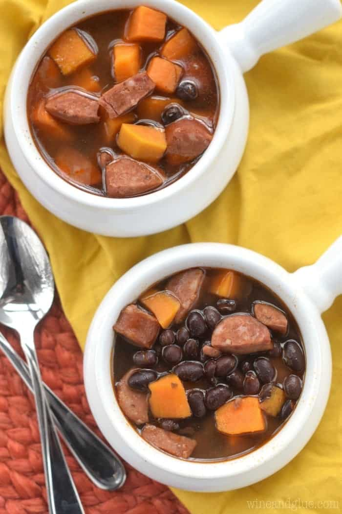 This Crock Pot Black Bean Chorizo Soup is the perfect comfort food, but easy enough for a weeknight meal!