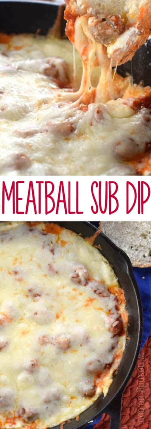 This Meatball Sub Dip is jam packed with flavor and cheesy goodness! Served hot with bread, it's the perfect appetizer!