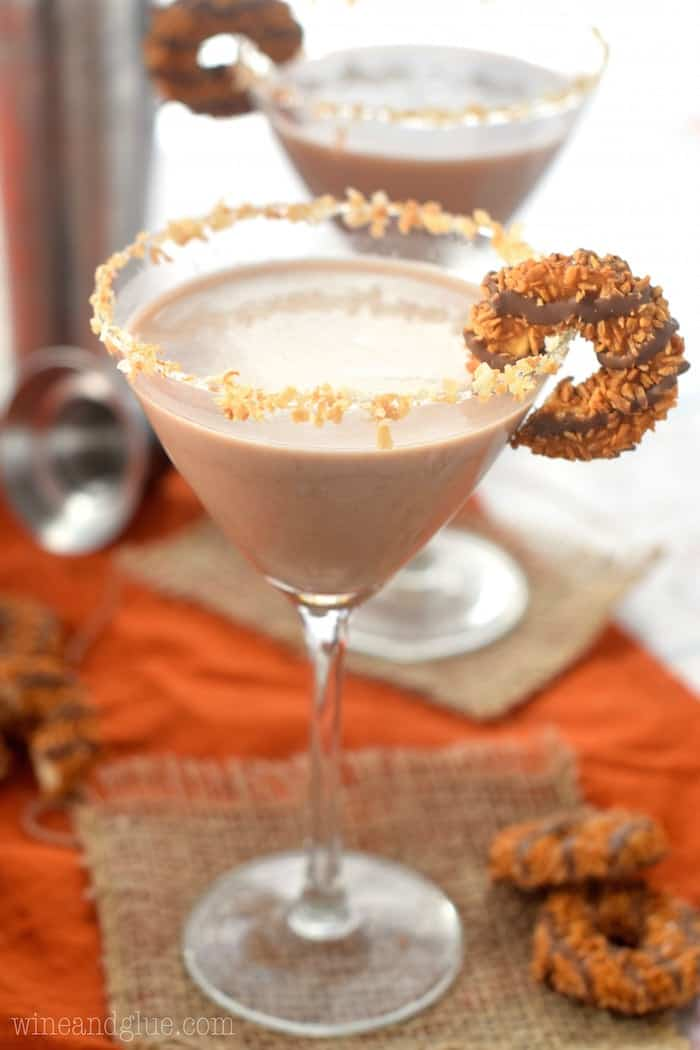 This Samoa Martini is your favorite cookie all grown up! Half dessert, half cocktail, all seriously delicious!